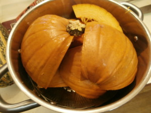 pumpkin pieces in pot