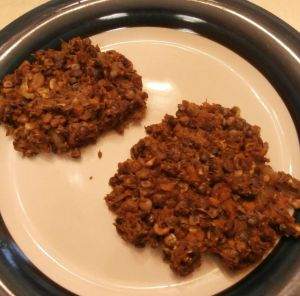 cooked lentil walnut apple burgers