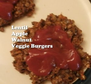 Lentil Apple Walnut Veggie Burgers