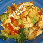 scrambled tofu with potatoes, broccoli, and red bell peppers