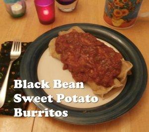 back bean sweet potato burritos