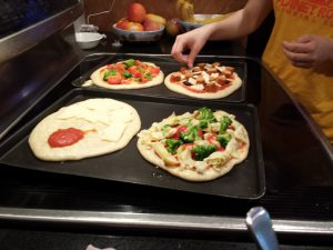 Adding toppings to pizzas