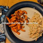 Chickpea Salad with Sweet Potato Fries