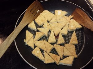 Tofu triangles after cooking