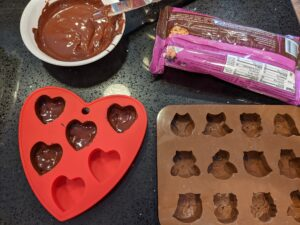 Painting the chocolate shells.